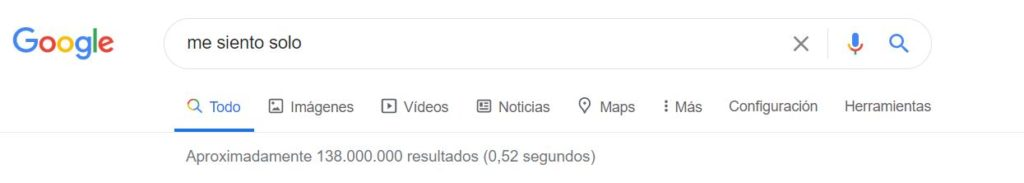 "Captura ""Me siento solo"" en Google 14 de abril"